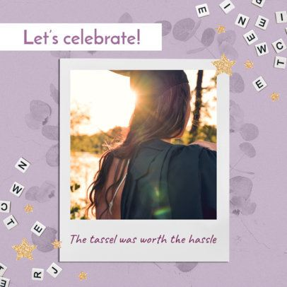 Instagram Post Template for a Graduation Day Celebration With an Instant Picture Frame 2431p