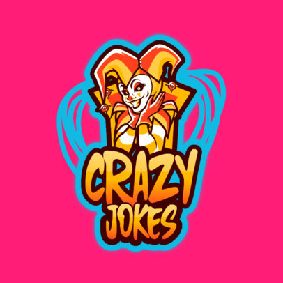 Gaming Logo Template with a Female Joker 3128a