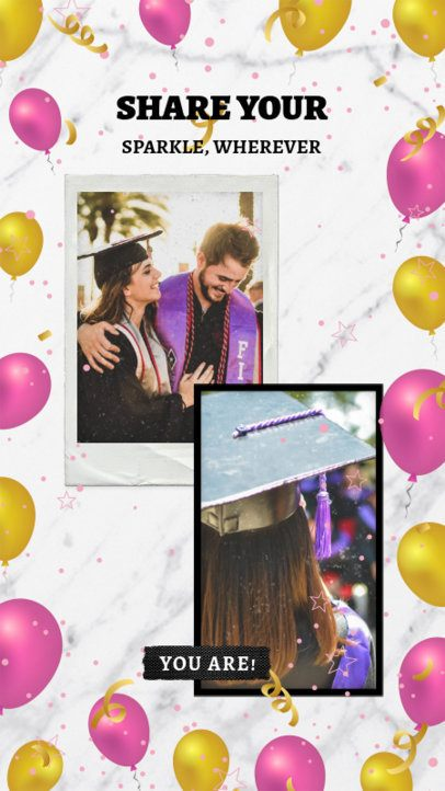 Graduation Day Instagram Story Maker with Festive Balloon Graphics 2430a