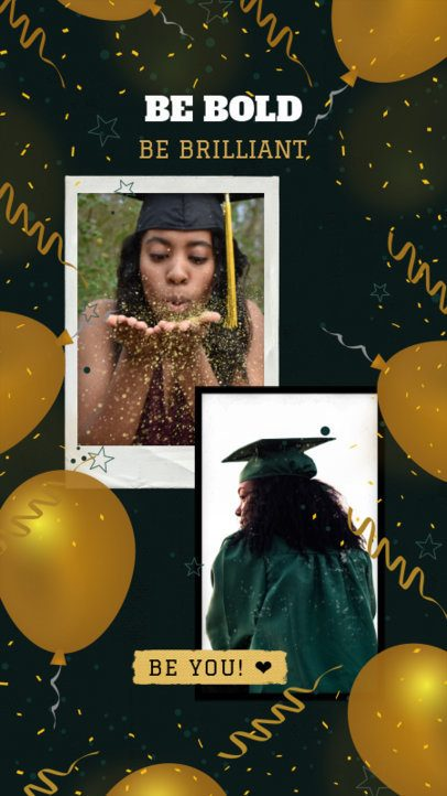 Graduation-Themed Instagram Story Template Featuring Golden Balloons 2430q