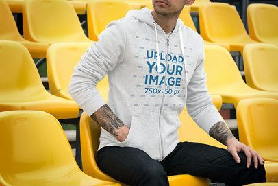 Full-Zip Hoodie Mockup of a Man in a Stadium Seat 3569-el1