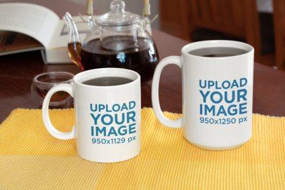 Mockup of an 11 oz Mug Next to a 15 oz Mug 33308