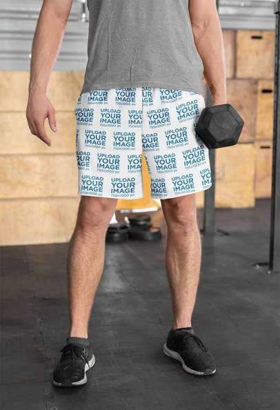 Shorts Mockup of a Man Holding a Dumbbell 33050