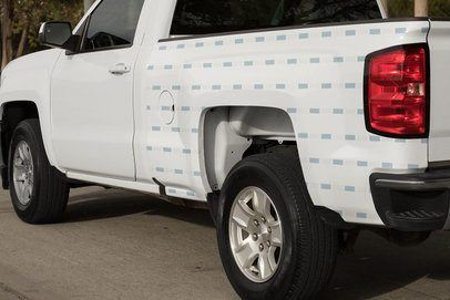 Mockup of a Car Decal on the Side of a Pickup Truck 33248