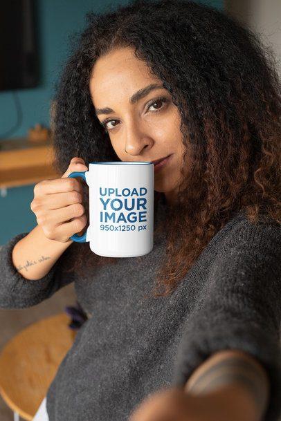 Colored Rim 15 oz Mug Mockup Featuring a Serious Woman 33179