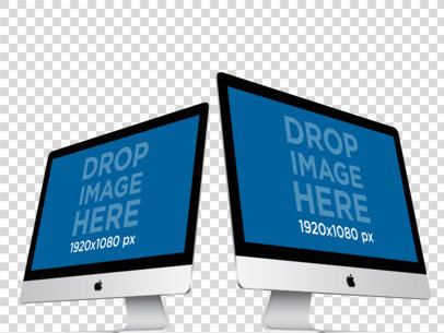 iMacs in Angled Position Over a Transaparent Background Mockup a12528