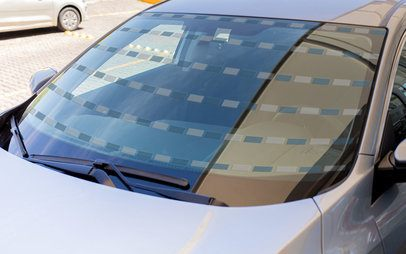 Window Decal Mockup Featuring the Windshield of a Car 33274