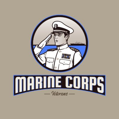 Gaming Logo Template Featuring a Marine Character Graphic 3122h