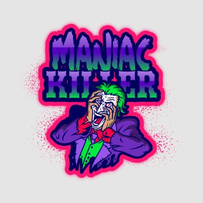 Gaming Logo Generator Featuring a Maniac Joker Illustration 3128j