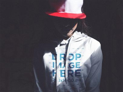 Hoodie Mockup of a Trendy Girl in a Dark Room a12483