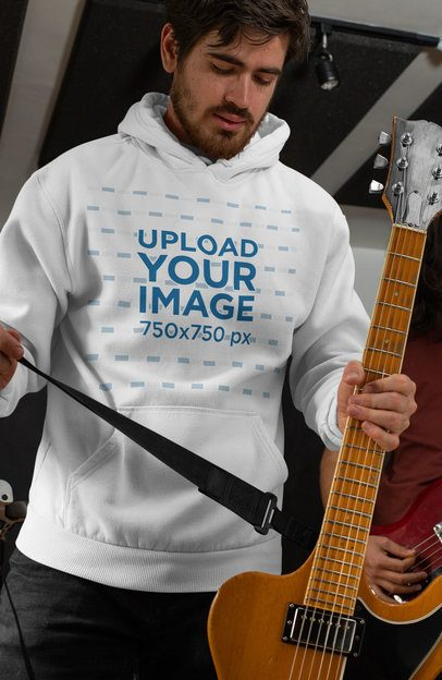 Mockup of a Guitarist Wearing a Pullover Hoodie 33337