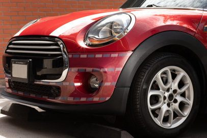 Car Decal Mockup Featuring the Bumper of a Subcompact Car 33251