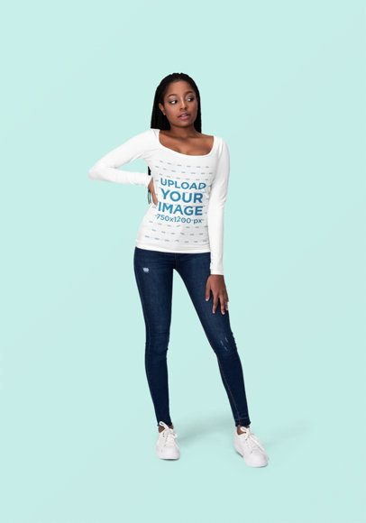 Long Sleeve Tee Mockup of a Trendy Woman Posing at a Studio 1822-el1