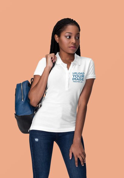 Polo Shirt Mockup Featuring a Serious Woman in a Studio 1825-el1