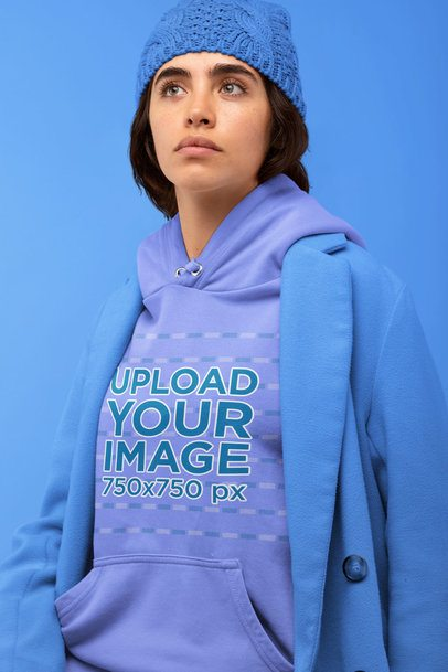 Hoodie Mockup of a Serious-Looking Woman with a Monochromatic Outfit 32829