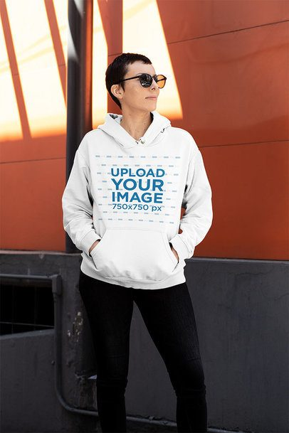 T-Shirt Mockup of an Androgynous Woman Wearing Sunglasses 32912