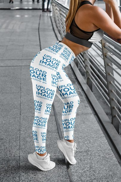 Mockup of a Woman Wearing Leggings and Leaning Forward 3645-el1