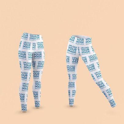 Mockup of Two Ghosted Leggings in Different Positions 3650-el1