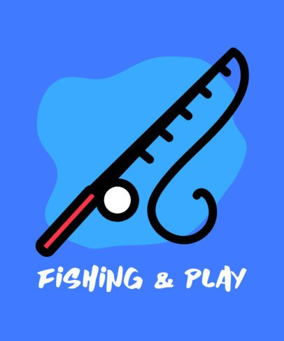 T-Shirt Design Creator Featuring a Fishing Rod Graphic 754c-el1