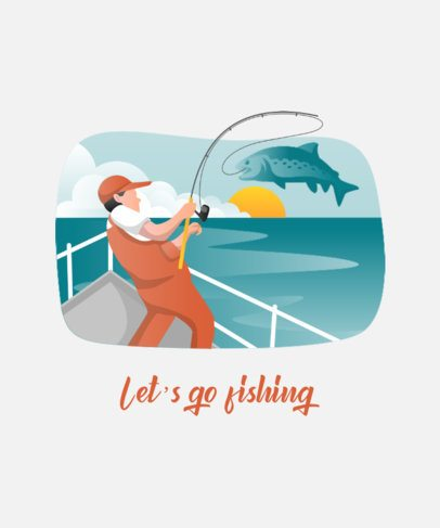 T-Shirt Design Creator Featuring an Illustrated Fishing Scene 753c-el1