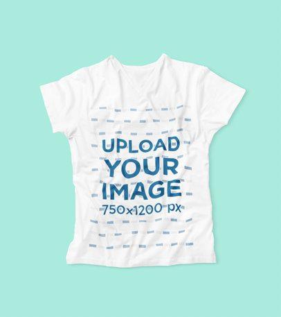 V-Neck T-Shirt Mockup Featuring a Plain Color Background 3668-el1
