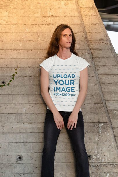 T-Shirt Mockup of a Serious Woman Leaning on a Wall 32951