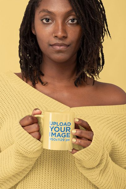 Monochromatic Mockup of a Serious Woman Holding an 11 oz Coffee Mug 32811