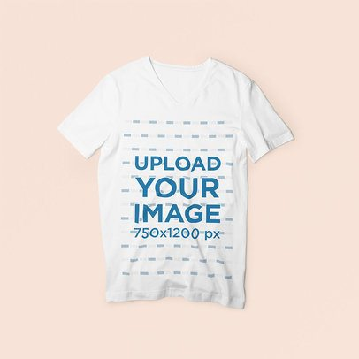 Mockup Featuring a V-Neck Tee and a Colored Background 3693-el1