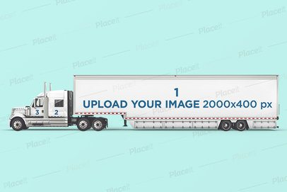 Vehicle Wrap Mockup Featuring a Long Trailer Truck 3606-el1