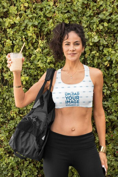 Sports Bra Mockup Featuring a Fit Woman Holding a Healthy Shake 32782