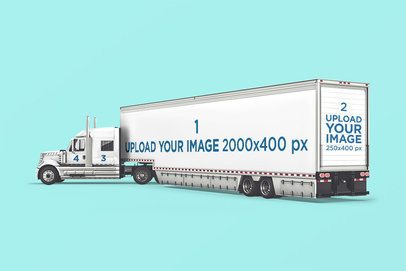 Full Vehicle Wrap Mockup Featuring a Long Truck Against a Plain Backdrop 3608-el1