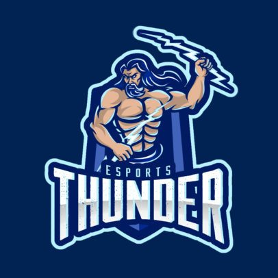 Gaming Logo Template Featuring a Thunder God Illustration 866e-el1