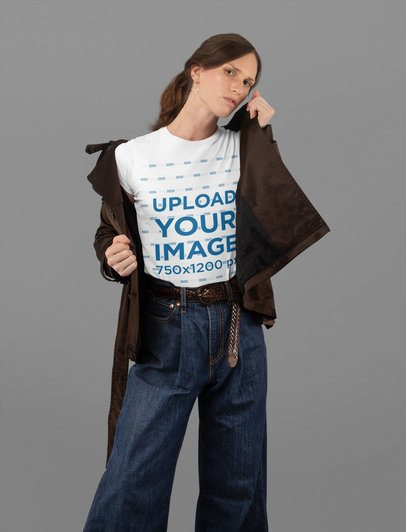 T-Shirt Mockup of a Woman at a Studio with Wide Leg Jeans 32939
