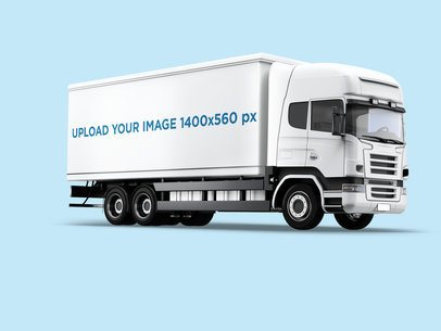 Vehicle Wrap Mockup Featuring a Cargo Truck Against a Plain Background 3612-el1