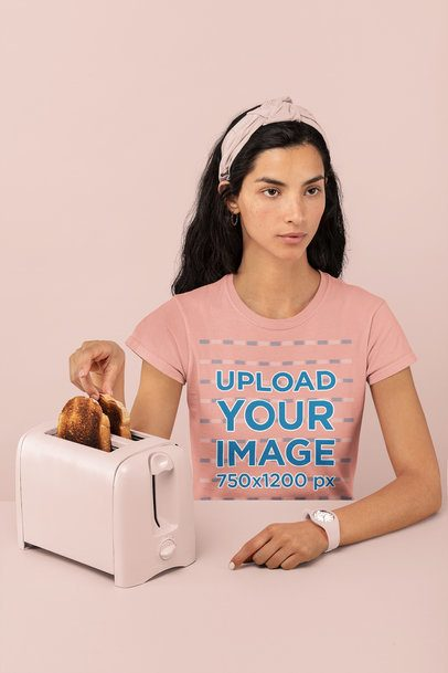 Monochromatic T-Shirt Mockup Featuring a Woman with Some Toasts 32786