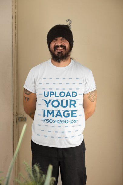 T-Shirt Mockup of a Bearded Man at Home 32831