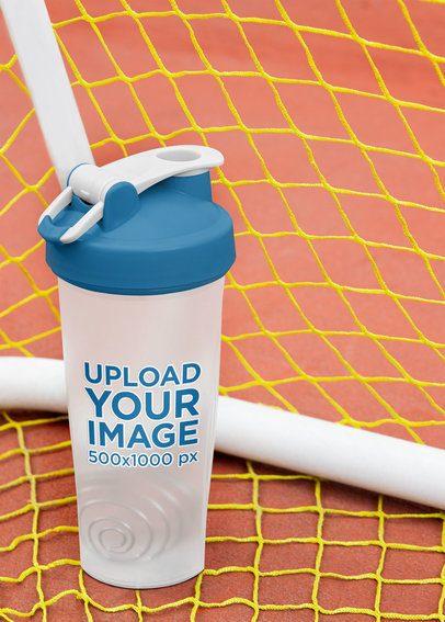 Mockup of a Blender Bottle Surrounded by a Soccer Goal's Net 33674