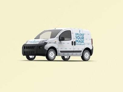 Car Decal Mockup Featuring a Compact Van with a Full Wrap 3619-el1