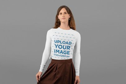 Long Sleeve Tee Mockup of a Woman with a Classy Outfit at a Studio 32944