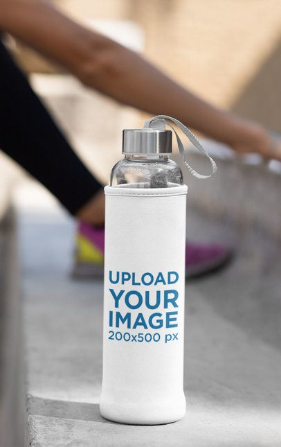 Koozie Mockup Featuring a Woman Working Out in the Background 33499