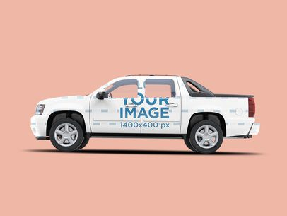 Vehicle Wrap Mockup Featuring the Side of a Pickup Truck 3602-el1