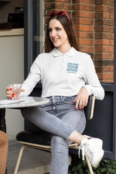 Long Sleeve Polo Shirt Mockup of a Woman Having a Drink 33464