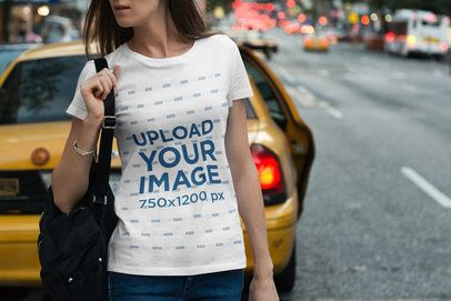 T-Shirt Mockup of a Woman in a Busy Street 1952-el1