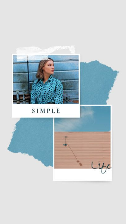 Minimal Instagram Story Design Maker Featuring an Instant Photo Collage 935c-el1