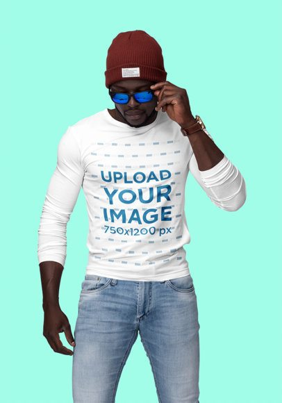 Mockup of a Man With Sunglasses and a Customizable Long Sleeve Tee at a Studio 1809-el1