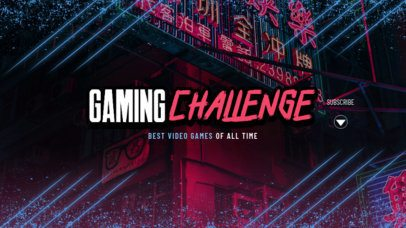 YouTube Banner Generator for Gamers with Neon Graphics 2450b