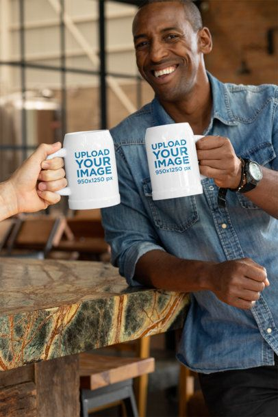 Beer Mug Mockup of a Man Sharing a Drink with a Friend 33421