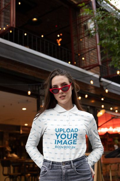 Sublimated Mockup of a Woman Wearing a Long-Sleeve Shirt on the Street 33468