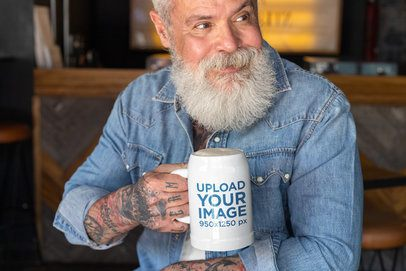 Beer Mug Mockup Featuring a Bearded Man 33445