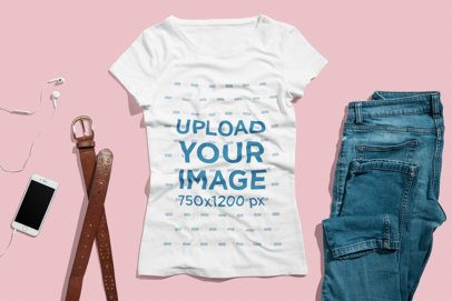T-Shirt Mockup of a Juvenile Woman's Outfit  3741-el1